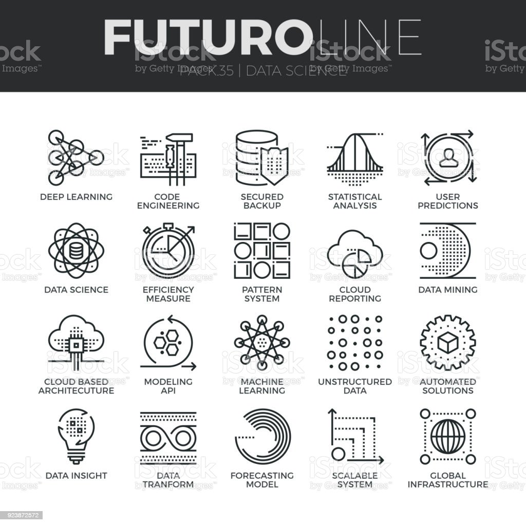 Data Science Futuro Line Icons Set vector art illustration