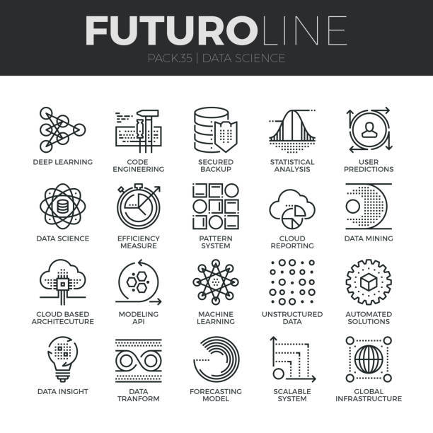data science futuro line icons set - science class stock illustrations, clip art, cartoons, & icons