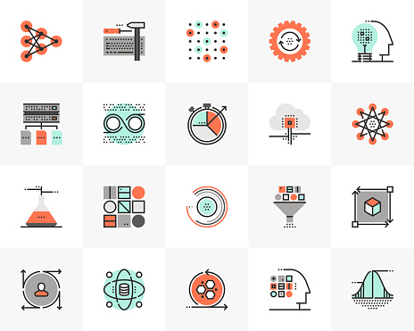 Flat line icons set of data science technology, machine learning. Unique color flat design pictogram with outline elements. Premium quality vector graphics concept for web, logo, branding, infographics.