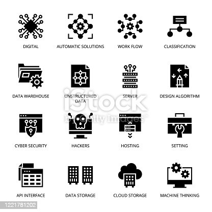 Data Science glyph Icons - Vectors