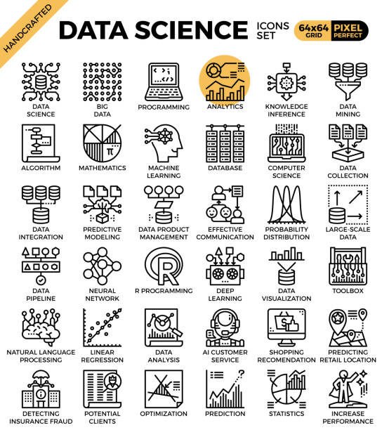Data Science Icons vector art illustration