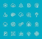 Pixel Perfect - Isolated on Blue - Icon Set #71 Data Science. Icons are designed in 48x48pх square, outline stroke 2px.  First row of outline icons contains:  Automated Solutions, Cloud Reporting, Scalable System, Secure Data Storage, Artificial Intelligence;   Second row contains:  Flask and Check Mark, Human Brain, Cloud Storage, Modeling API, Separating Funnel;  Third row contains:  Cloud Computing, Data Science, Gears, Cloud Technology, Report;   Fourth row contains:  Data Mining, User Predictions, Statistical Analysis, Data Insight, Global Infrastructure.   Complete Bimico collection - https://www.istockphoto.com/collaboration/boards/t8tfiS1uqEecwP9AO9SJmw