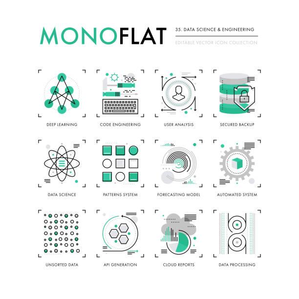 daten wissenschaft monoflat symbole - bund stock-grafiken, -clipart, -cartoons und -symbole