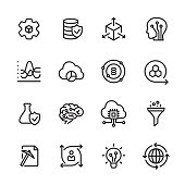16 line black on white icons / Set #73 Pixel Perfect Principle - all the icons are designed in 48x48pх square, outline stroke 2px.  First row of outline icons contains:  Automated Solutions, Secure Data Storage, Scalable System, Artificial Intelligence;  Second row contains:  Statistical Analysis, Cloud Reporting, Data Science, Modeling API;  Third row contains:  Flask and Check Mark, Human Brain, Cloud Computing, Separating Funnel;   Fourth row contains:  Data Mining, User Predictions, Data Insight, Global Infrastructure.  Complete Inlinico collection - https://www.istockphoto.com/collaboration/boards/2MS6Qck-_UuiVTh288h3fQ