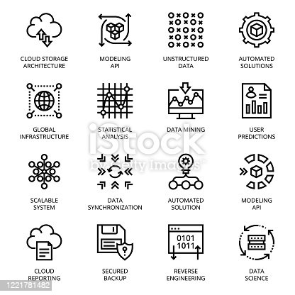 Data Science outline Icons - stroke, vector