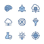 Data Science icons set #126 Specification: 9 icons, 48x48 pх, blue stroke weight 2 px. Features: Pixel Perfect, Single line, Color-filled parts.  First row of icons contains: Brain, Scale, Cloud CPU;  Second row contains: Cloud, Data Science, Funnel;  Third row contains: Research, Data Insight, Infrastructure.  Complete Ninico Blue collection - https://www.istockphoto.com/collaboration/boards/KZ1_tG41mEa7_qCGyBYMqA