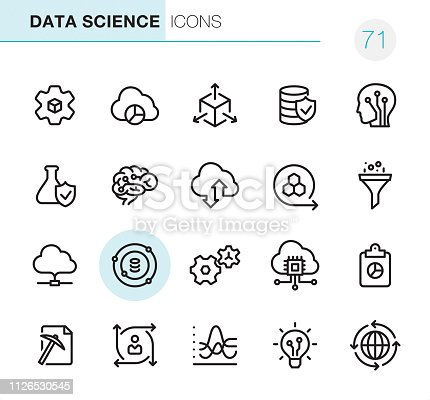20 Data Science icons - Outline Style - Black line - Pixel Perfect / Set #71 Icons are designed in 48x48pх square, outline stroke 2px.  First row of outline icons contains:  Automated Solutions, Cloud Reporting, Scalable System, Secure Data Storage, Artificial Intelligence;   Second row contains:  Flask and Check Mark, Human Brain, Cloud Storage, Modeling API, Separating Funnel;  Third row contains:  Cloud Computing, Data Science, Gears, Cloud Technology, Report;   Fourth row contains:  Data Mining, User Predictions, Statistical Analysis, Data Insight, Global Infrastructure.  Complete Primico collection - https://www.istockphoto.com/collaboration/boards/NQPVdXl6m0W6Zy5mWYkSyw