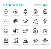 Data Science - 20 Outline Style - Single line icons with captions / Set #63 Designed in 48x48pх square, outline stroke 2px.  First row of outline icons contains: Solution, Cloud Stat, Scale, Data Storage, AI;     Second row contains: Research, Brain, Cloud Storage, Modeling API, Funnel;    Third row contains: Cloud, Data Science, Gears, Cloud CPU, Report;    Fourth row contains: Data Mining, User, Analysis, Data Insight, Infrastructure.  Complete Signico collection - https://www.istockphoto.com/collaboration/boards/VT_7sDWo80OLh7foVxchBQ