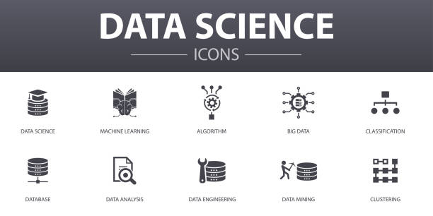 Data science simple concept icons set. Contains such icons as machine learning, Big Data, Database, Classification and more, can be used for web, logo, UI/UX Data science simple concept icons set. Contains such icons as machine learning, Big Data, Database, Classification and more, can be used for web, logo, UI/UX machine learning stock illustrations