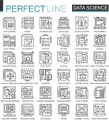 Data science technology outline mini concept symbols. Machine learning process modern stroke linear style illustrations set. Perfect thin line icons.