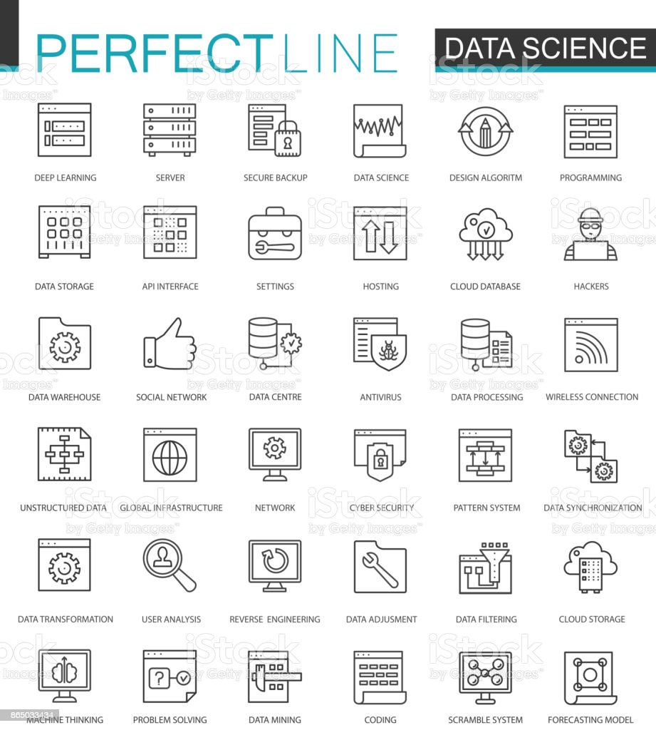 Data Science thin line web icons set. Data analysis outline stroke icons design. vector art illustration