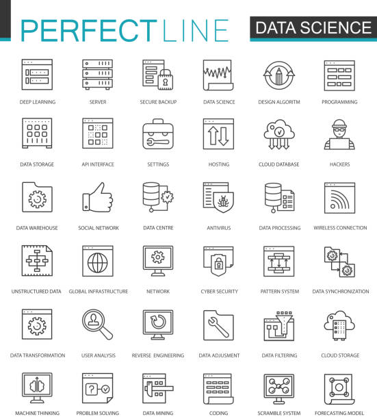 data science thin line web icons set. data analysis outline stroke icons design. - science class stock illustrations, clip art, cartoons, & icons