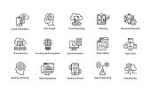 This Data Science Vector Icon set contains processes and systems to extract knowledge or insights from data in various forms areas. Variety of icons include predictive analytics, data mining, data analysis, statistics and algorithms, data transformation, data security, data mining and much more for creative designers.