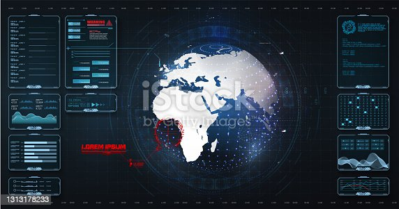 istock Data screen with chart, graphic, ui, ux panel, visualization screen. Earth globe, control center, command, game. Globe with digital radar interface, concept of communication technology. Vector 1313178233