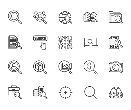 Data search flat line icons set. Magnify glass, find people, image zoom, database exploration, analysis vector illustrations. Thin signs for web engine. Pixel perfect 64x64. Editable Strokes.