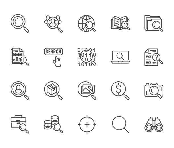 ilustrações de stock, clip art, desenhos animados e ícones de data search flat line icons set. magnify glass, find people, image zoom, database exploration, analysis vector illustrations. thin signs for web engine. pixel perfect 64x64. editable strokes - aventura