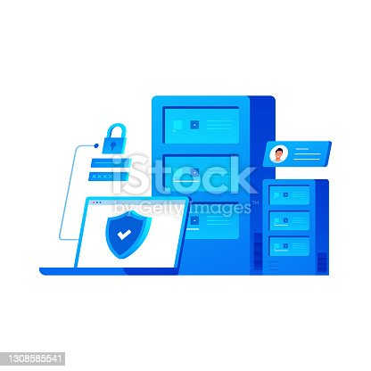 istock Data Security and Cyber Security Related Cartoon Style Flat Design Vector Illustration 1308585541