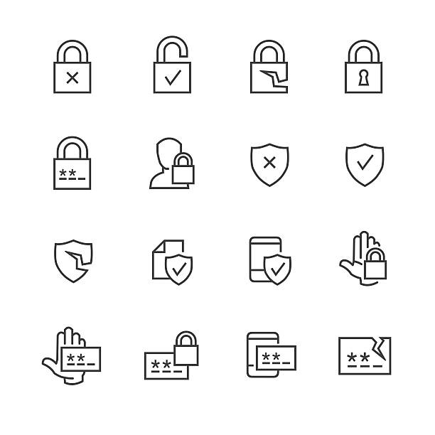 Data security and password icons Vector set of computer data security and password icons padlock stock illustrations