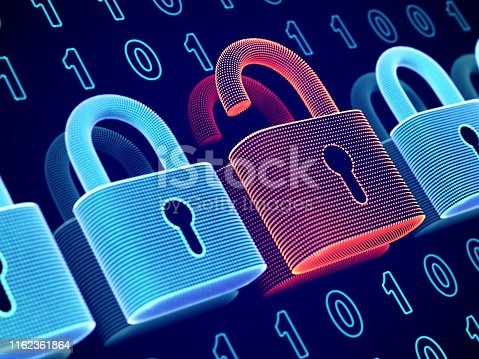 Data security and privacy concept: opened padlock on binary code background. Visualization of personal or business information safety. Cybercrime or network hacker attack. EPS10 vector illustration