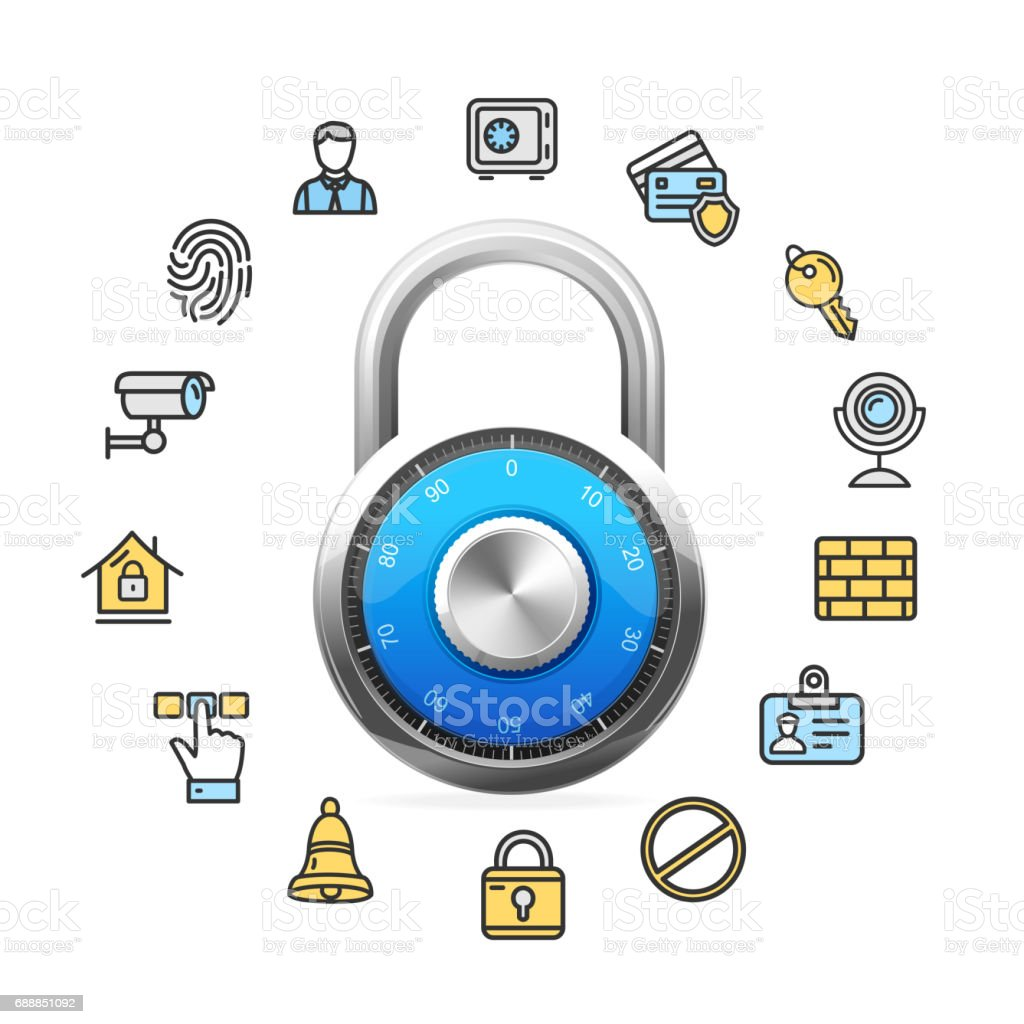 Data Security Concept and Blue Combination Padlock. Vector vector art illustration