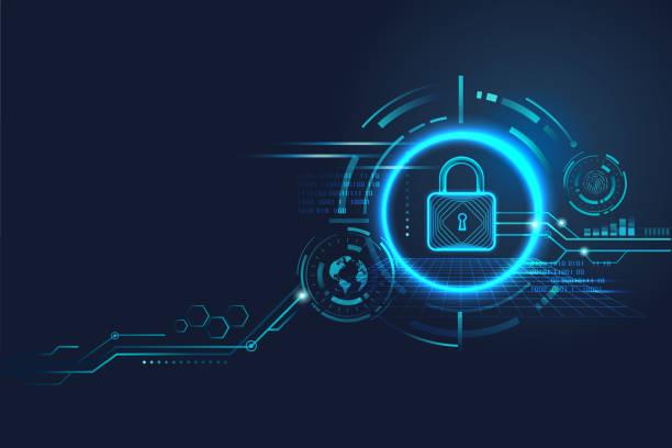 ilustraciones, imágenes clip art, dibujos animados e iconos de stock de diseño de concepto de seguridad de datos para privacidad personal, protección de datos y seguridad cibernética. candado con icono de ojo de cerradura sobre fondo azul. - seguridad
