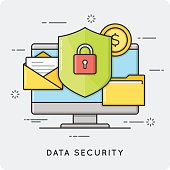 Data security. Flat thin line concept. Vector illustration.