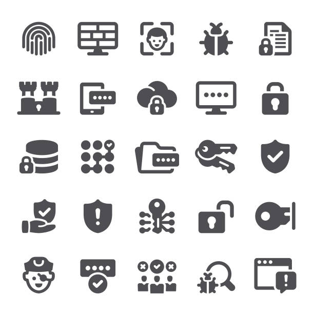 data security icons - facial recognition stock illustrations