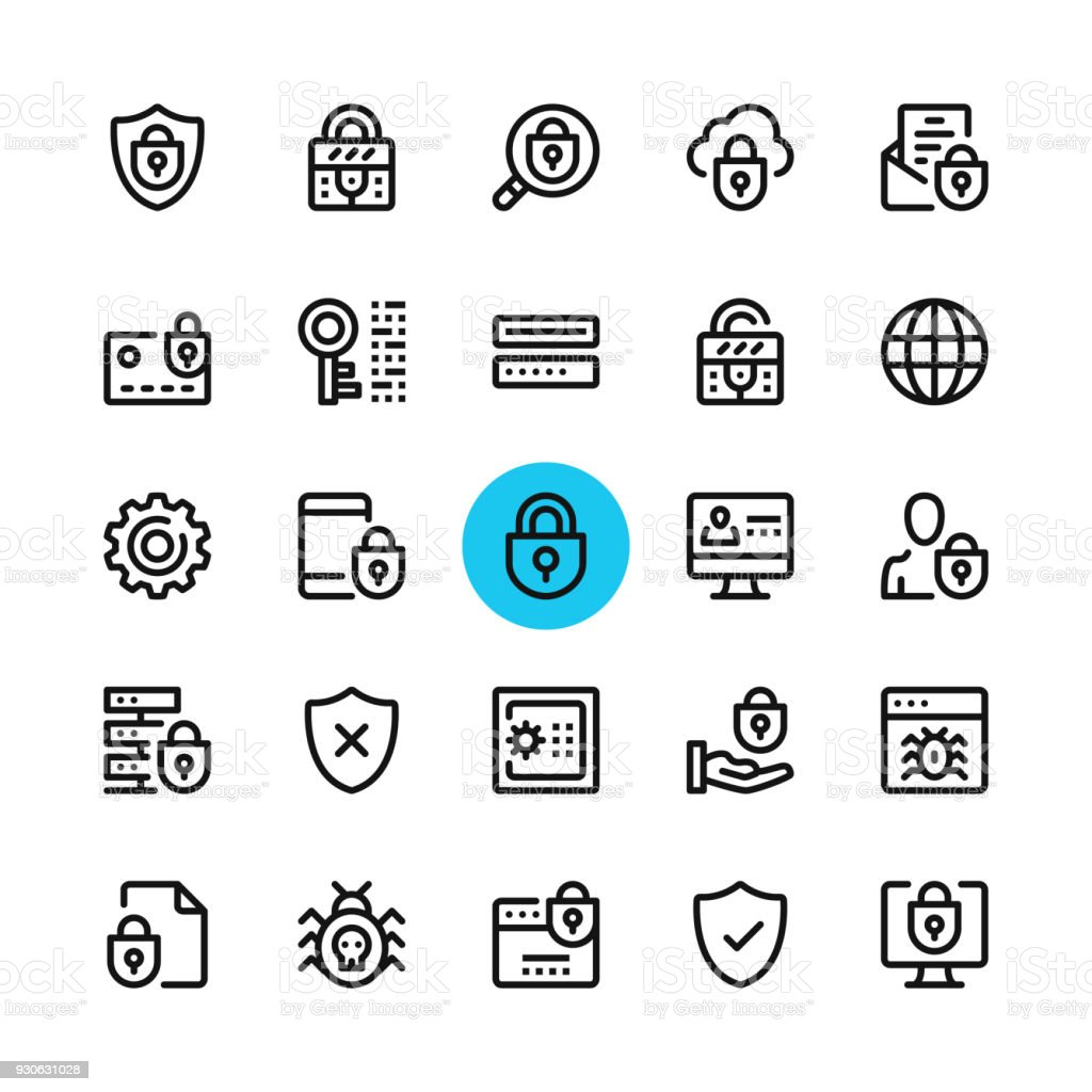 Data security, privacy, computer protection line icons set. Modern graphic design concepts, simple outline elements collection. 32x32 px. Pixel perfect. Vector line icons vector art illustration