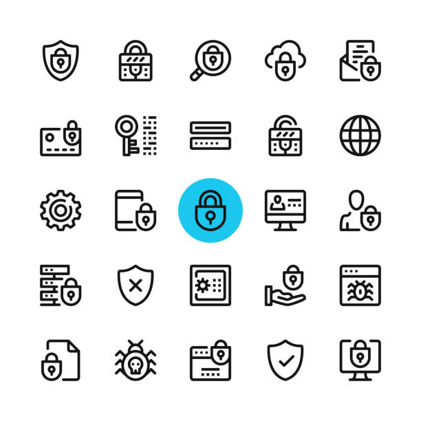 ilustrações de stock, clip art, desenhos animados e ícones de data security, privacy, computer protection line icons set. modern graphic design concepts, simple outline elements collection. 32x32 px. pixel perfect. vector line icons - seguros