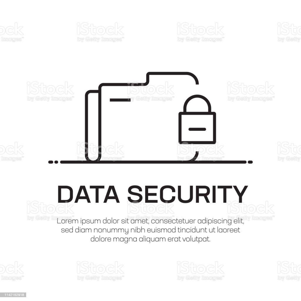 Data Security Vector Line Icon - Simple Thin Line Icon, Premium...