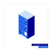 Data Server Isometric Icon Concept and Three Dimensional Design