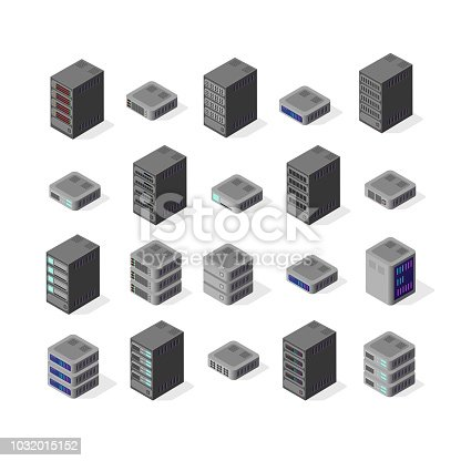 Data server set network technology of networking telecommunication computer. Set isometric 3d vector illustration of computing equipment cloud database center of information internet system storage.