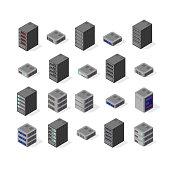 Data server set network technology of networking telecommunication computer. Set isometric 3d vector illustration of computing equipment cloud database center of information internet system storage.
