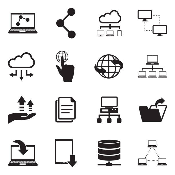 Data Sharing Icons. Black Flat Design. Vector Illustration. Data, Information, Server, Cloud, Sharing transfer image stock illustrations