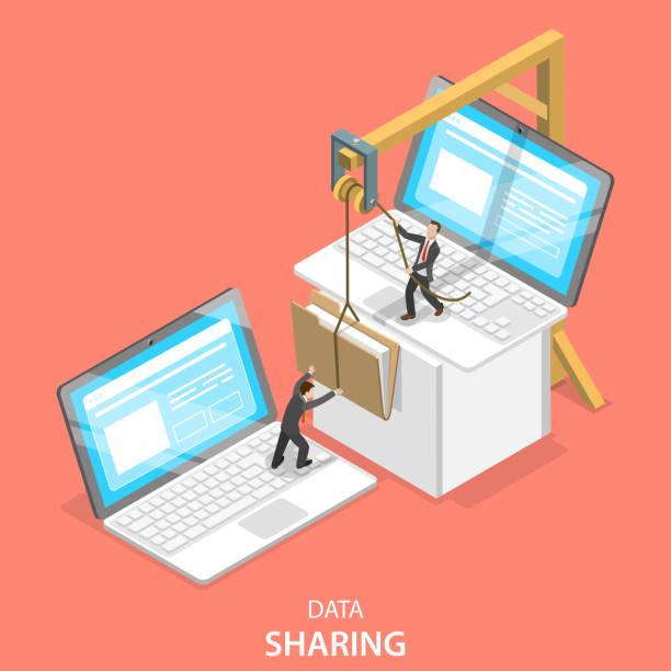 Data sharing service isometric flat vector concept. Isometric flat vector concept of data sharing service, social network, information exchange, file transfer. transfer image stock illustrations