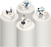 Concept illustration of the Silo Effect, where people in different business groups fail to share information with each other.
