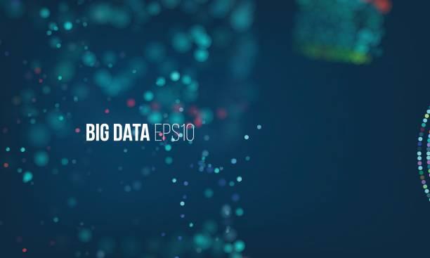 daten fließen sortierverfahren. big-data-stream futuristische infografik. bunte partikel welle mit bokeh - edm stock-grafiken, -clipart, -cartoons und -symbole