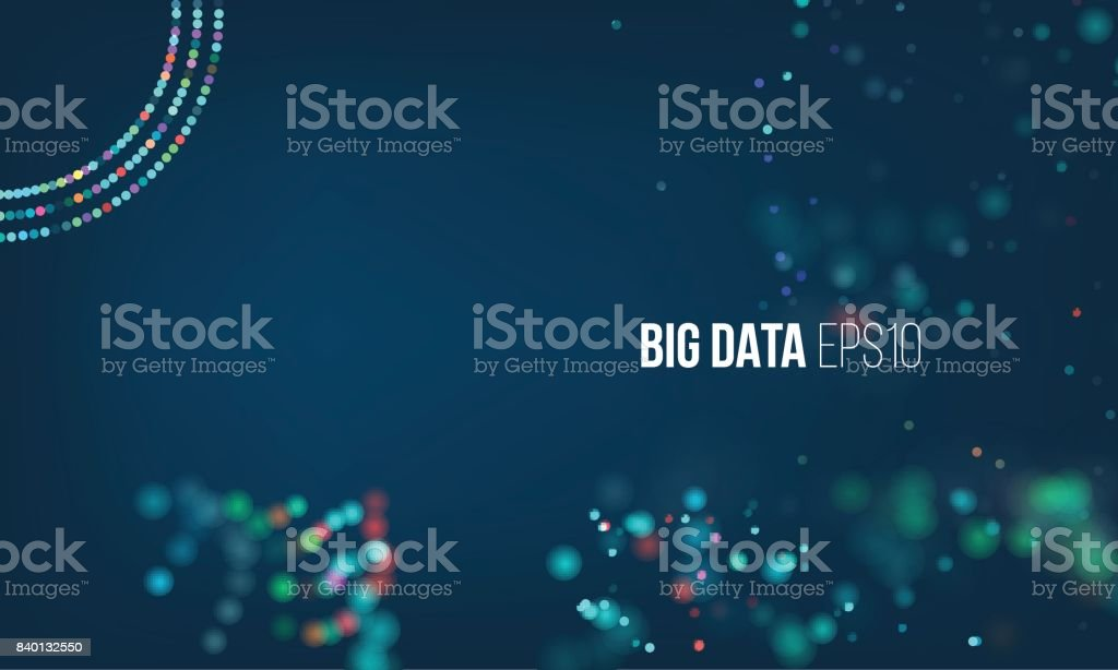 Data sorting process. Big data futuristic infographic. Colorful particle grid with bokeh vector art illustration