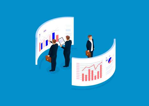 data statistics and analysis, financial management, data visualization - towar stock illustrations
