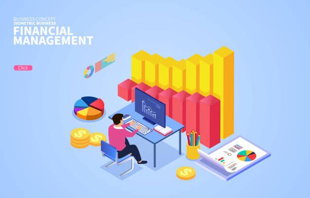 Datenstatistik, Finanzberichterstattung, Finanzmanagementkonzepte – Vektorgrafik