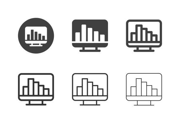 Data Statistics Icons - Multi Series vector art illustration