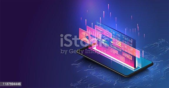 Data statistics. Web Banner. Graph and analytics data on isometric mobile phone.