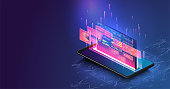 Data statistics. Web Banner. Graph and analytics data on isometric mobile phone.