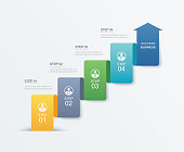 4 data step infographics timeline tab paper index template. Vector illustration abstract background. Can be used for workflow layout, banner, web design.