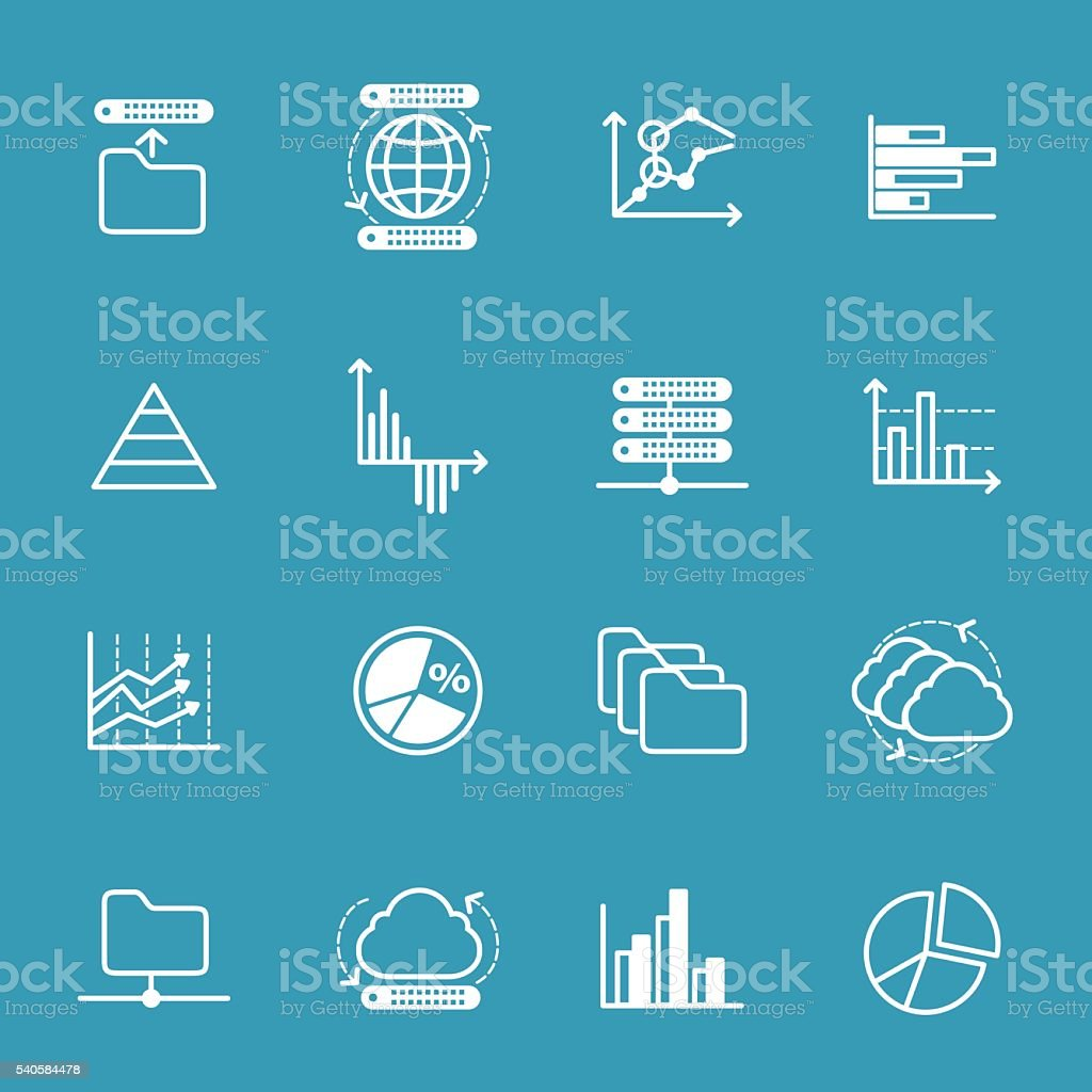 Data storage and data analysis icons vector art illustration