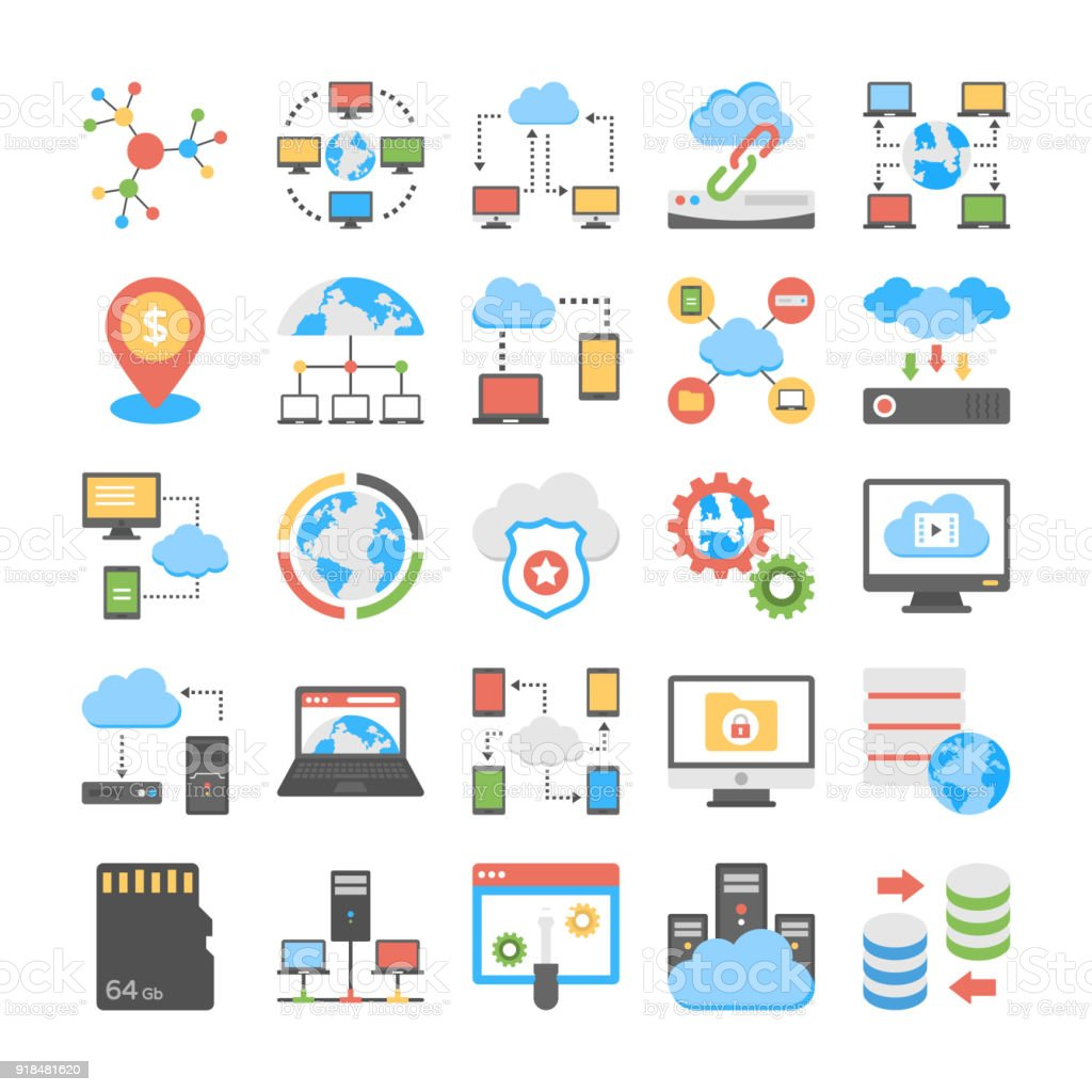 Data Storage and Web Hosting Flat Vector Icons This is a creative and conceptual flat vector icons set of web hosting. This pack encloses wide range of web hosting elements and can surely fulfil the requirements of your related projects. Cloud Computing stock vector