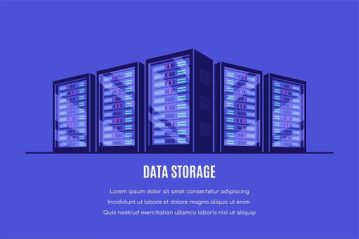 Data storage concept banner, flat style vector illustration