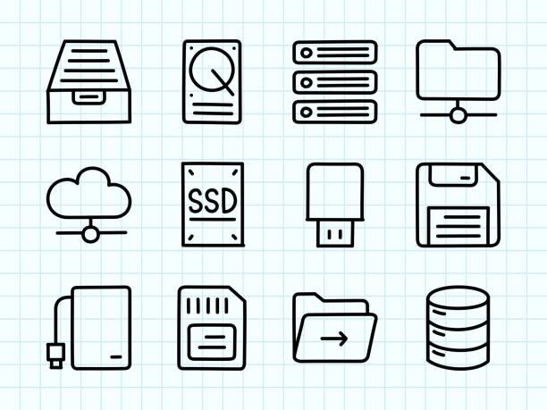 Data Storage Doodle Drawing Data Storage Doodle Drawing external hard disk drive stock illustrations