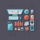A concept illustration with flat design-styled vectors themed on data storage. EPS 10 file, layered & grouped,