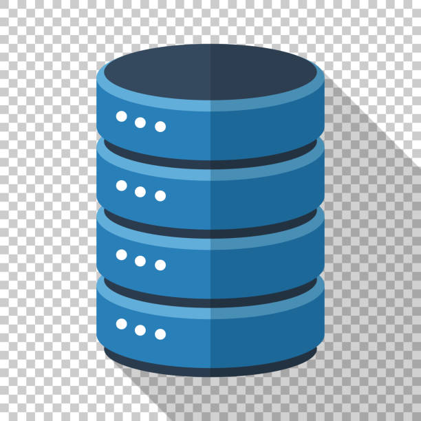 Data storage icon in flat style with long shadow on transparent background Data storage icon in flat style with long shadow on transparent background cylinder stock illustrations